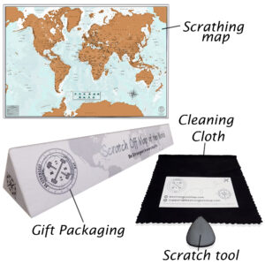 Scratch map, cleaning cloth, gift packaging, Scratch tool plus bonus gift