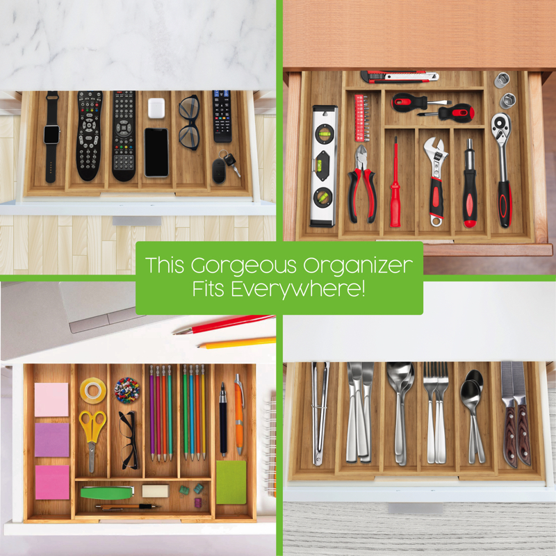 Georgeous Expandable Wood Drawer Orgazizer fits everywhere by Be Strongest Homeware